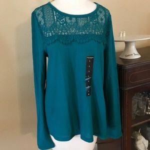 NWT Lucky Brand Sz L Lace Yolk Thermal Top: 043